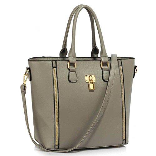 TrendStar Damen Stilvolle Berühmtenart Padlock Tote Handtasche Frauen-Designer-Umhängetasche Grau