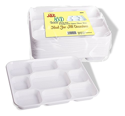 Deluxe Heavy Duty 9 Compartment Square Plastic Dinner Plates 50pc Party Home Food Disposable Section Tray Wedding BBQ Curry Thali by Concept4u Square Dinner Plate