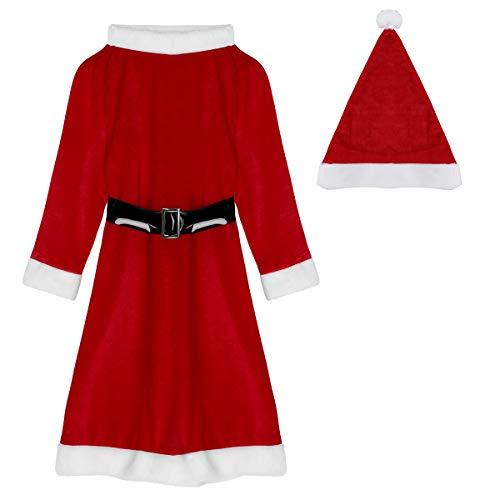 YiZYiF Herren Damen Weihnachtsmann Kostüm mit Mütze, Bart und Gürtel Weihnachtskostüm Nikolauskostüm Erwachsene Weihnachtsparty Outfits Rot (Damen) One Size