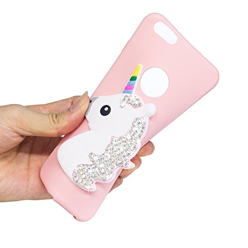 Coque iPhone 6 Plus , Etui Housse Bling Glitter Strass Licone Motif Case Cover en Silicone Gel TPU Flexible Souple Housse de Protection pour Apple iPhone 6 Plus (5.5 pouces) Enveloppe Coque Soft Slim  Rose