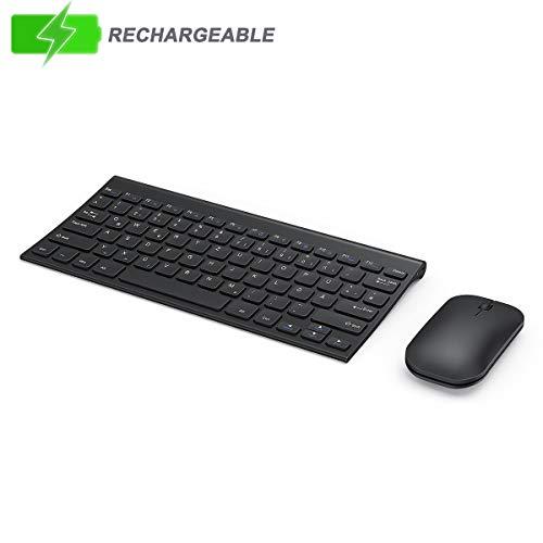 seenda Tastatur Maus Set Kabellos, Ultra Flach Klein Wiederaufladbar Tastatur und Maus Set für Windows-Schwarz