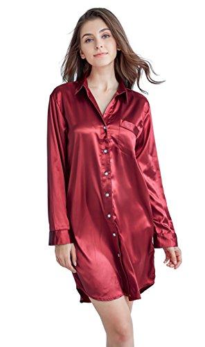 Damen Nachthemd Negligee, Nachtwäsche Nachtkleid, Satin Schlafhemd Schlafanzug, Langarm Sleepwear von Tony & Candice (L=EU (44-46), Burgund) (Satin-nachthemd Damen)