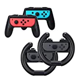 Nintendo Switch Wheel, Beneray Joy Con Grip und Joy Con Griffrad 4 Pack für Nintendo Switch Controller 2 Paar (Schwarz)