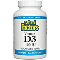 Vitamin D3 for Kids, Strawberry Flavour, 400 IU, 100 Chewable Tablets