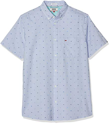Hilfiger Denim Herren TJM Short Sleeve Dobby Shirt Freizeithemd, Blau (Limoges 434), Medium (Herstellergröße: M) - Dobby Kurzarm-shirt