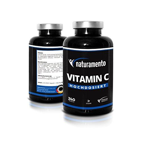 Vitamin C Hochdosiert 240 Kapseln Premium Qualität - Vitamintabletten vegan glutenfrei laktosefrei - Vitamin-C für jeden Tag 4-Monatspackung - Hochwirksames Nahrungsergänzungsmittel für Immungsystem & Kollagen