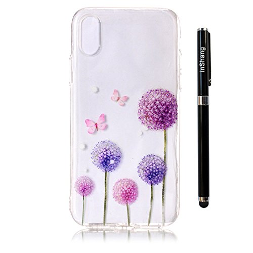 inShang iPhone X 5.8inch custodia cover del cellulare, Anti Slip, ultra sottile e leggero, custodia morbido realizzata in materiale del TPU, frosted shell , conveniente cell phone case per iPhone X 5. Butterfly Dandelion