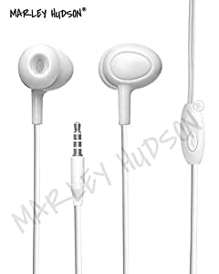 Marley Hudson Noise Cancelling in Ear Headphones with Microphone Headphones Super Bass Earbuds for iPhone Android Phone iPad Tablet Laptop - White
