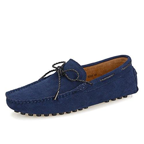 ildleder Frühling Herbst Fahren Schuhe Comfort Loafers & Slip-Ons für Sportliche Casual Outdoor Blau, Burgund, Grau, Hellbraun (Color : A, Größe : 39) (Grau Und Burgund)