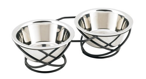 Buddy's Line Spring Style Double Diner Pet Bowl, Black Iron Base, 12 ounces by Royal Trade USA -