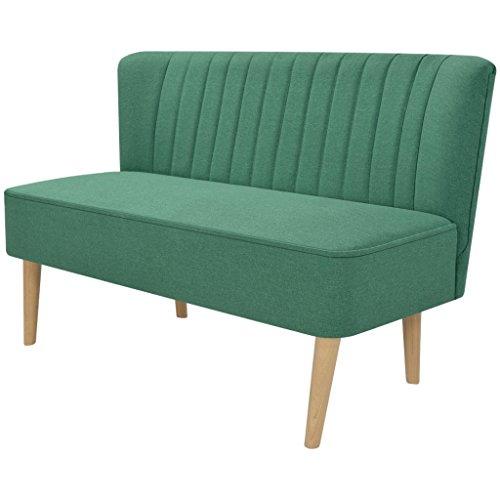 Festnight Sofa 2-Sitzer-Sofa 2-Sitzer Couch Loungesofa Wohnzimmersofa Stoffpolsterung Holzrahmen 117x55,5x77cm für Wohnzimmer Büro - Grün
