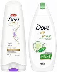 Dove Daily Shine Conditioner, 180ml & Dove Go Fresh Nourishing Body Wash, 190ml
