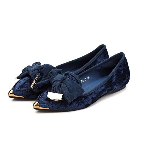 AllhqFashion Damen Mattglasbirne Spitz Zehe Ohne Absatz Ziehen Auf Rein Flache Schuhe Blau
