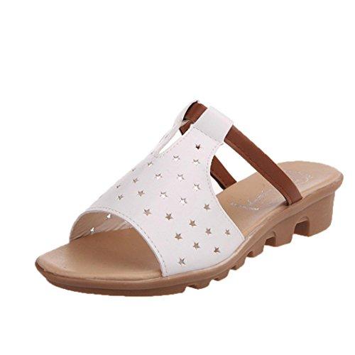 Bescita Frauen Hausschuhe weiblich Sandalen Fashion Solid Sommerstrand gleitet Schuhe weiße