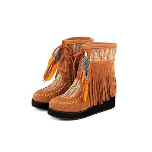 QPYC Donne Flat Boots Front Merletti in su Nappa artificiale Sabbia di cotone corto Stivali Booster Pendenza in Heels Big Dimensione del codice yellow