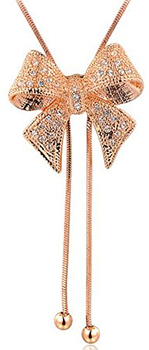 SaySure - 14K Gold Plated Stellux Crystals Rose golden bow