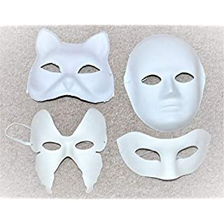 ASCRAFTS Hongbe 4x Mix Assorted Pack Plain Blank Face Masks to Decorate & Paint ( Cat, Half Face,Oprah & Full Face )