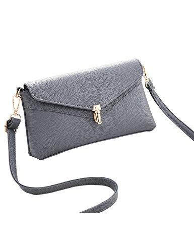 Menschwear Frauen PU Leder Umhängetasche Handtasche Satchel Geldbörse Hobo Messenger Bags Rot Grau