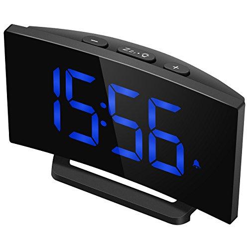 Digitaler Wecker, Mpow Digitalwecker mit 5'' gebogene LED Dimmbare Bildschirm, Digitaluhr, Tischuhr, 3 Alarmtöne mit 2 einstellbare Lautstärke, 9 ' Snooze Zeit, 4 Helligkeitsstufen, 30 Minuten Klingelzeit, 12/24 Stundenanzeige, Datensicherung, USB-Ladeanschluss, Perfekt für Wohnzimmer, Schlafzimmer, Küche, Büro.(Ohne Adapter)