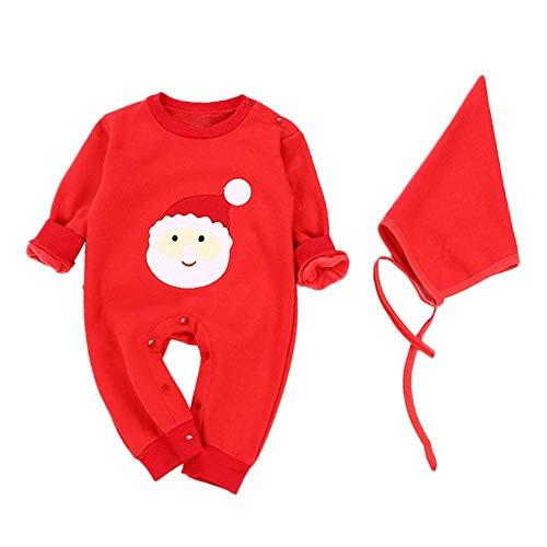 59a46ec5dc0a14 Qiusa Baby Outfit, Simpatico Babbo Natale Stampato Pagliaccetto + Solido Cappello  Natale Set Autunno Inverno