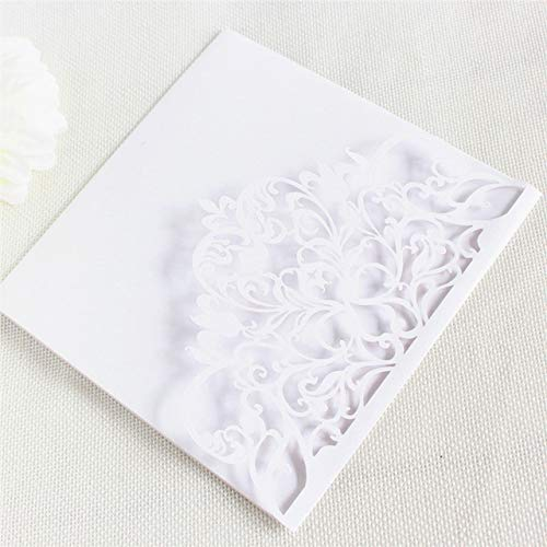 ZheQR Elegant Invitation Card Wedding Marriage Soft pink Pearl Paper Pocket fold Customized Printing 50pcs,White,Laser Cut Card (Einladungen Pocket White)