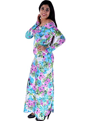 Damen Langarm Blumen aus Schulter Bodycon Long Party Maxi Kleid Weiß / Lila Blumen