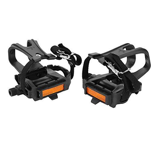 Dilwe 1 Paar Fahrradpedal, Fahrradpedale mit Zehenspangen und Riemen für Rennrad Mountainbike Fixed Gear