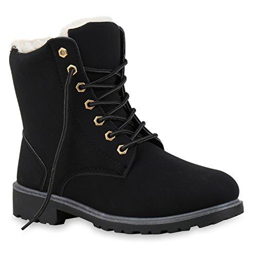 Worker Boots Warm Gefütterte Damen Herren Stiefeletten Knöchelhohe Stiefel Zipper Kunstfell SchnürerOutdoor Schuhe 124552 Schwarz 41 Flandell