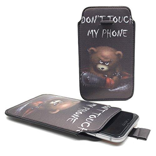 Handy Hülle Slide Tasche Etui Case Schutzhülle Bumper Cover Sleeve Universal Neu, Motive:Dont Touch My Phone Bär, Handymodell:Gionee Ctrl V5