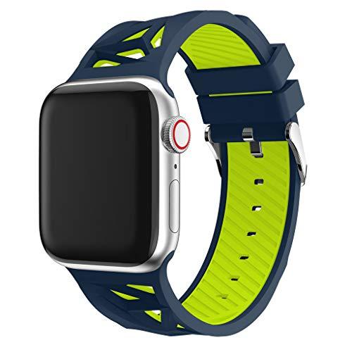 BZLine für Apple Watch Armband 38mm 40mm 42mm 44mm, Sport Weiches Silikon Armband Strap Band Ersatz Uhrenarmband für iWatch Apple Watch Series 4/3/2/1 - Chakra-anhänger Gelbe