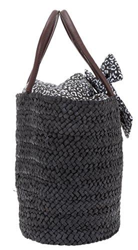 FABRIZIO Korb Handtasche SUGAR Einkaufskorb Marktkorb 55124 +Schlüßeletui (Blau 0500) Dunkelbraun 0100