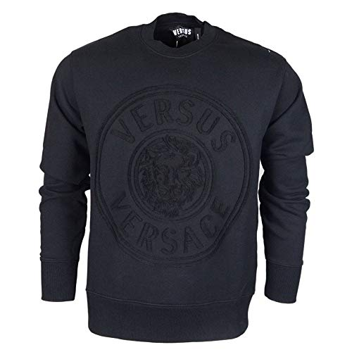 Versace Sweatshirt mit Rundhalsausschnitt, Normale Passform, Besticktes Logo, Schwarz - schwarz - Mittel