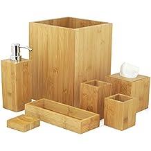 Set accessori da bagno 7x pezzi in legno design decorativo