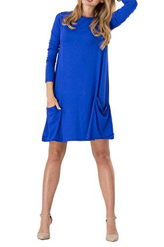 Blaues T-shirt Tasche (YMING Damen Langarm Kleid Lose T-Shirt Kleid Rundhals Casual Tunika mit Taschen Midi Kleid,Blau,L / DE 40-42)