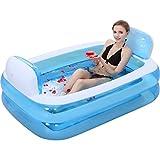 Bañera inflable plegable para adultos piscina para niños baño cómodo ( Color : Blue (electric pump) )