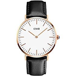 CIVO Mens Black Leather Band Quartz Analogue Wrist Watch Business Casual Simple Classic Design Dress Watches Waterproof Rose Golden Tone Wristwatch with Stainless Steel Case
