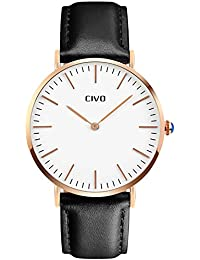 CIVO Mens Watches Ultra Thin Quartz Analogue Waterproof Wrist Watch Men's Business Casual Simple Classic Design Dress Rose Golden Tone Wristwatch with Stainless Steel Case (Black)