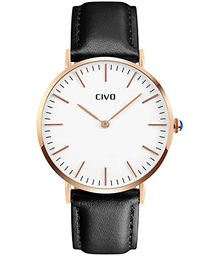 CIVO-Mens-Black-Leather-Band-Ultra-Thin-Quartz-Analogue-Wrist-Watch-Business-Casual-Simple-Classic-Design-Dress-Watches-Waterproof-Rose-Golden-Tone-Wristwatch-with-Stainless-Steel-Case