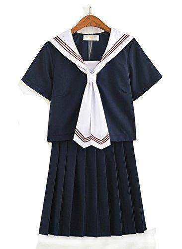 Olanstar Women's Japanese High School Uniform Anime Cosplay JK Costume Set Sailor Suit for Girl Black (Adult Skirt Girl School)