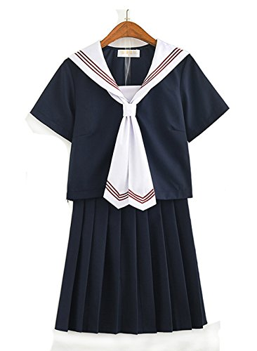 Olanstar Women's Japanese High School Uniform Anime Cosplay JK Costume Set Sailor Suit for Girl Black
