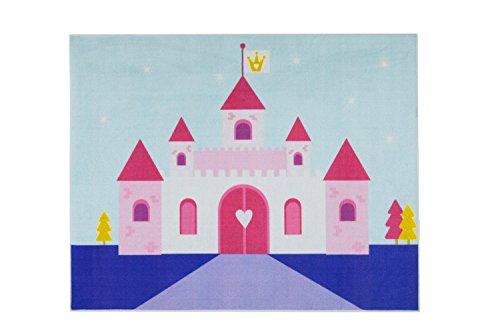 Aminata-kids – Teppich Kinderzimmer Mädchen Prinzessin Schloss 95x125 cm * Made in Europe *...
