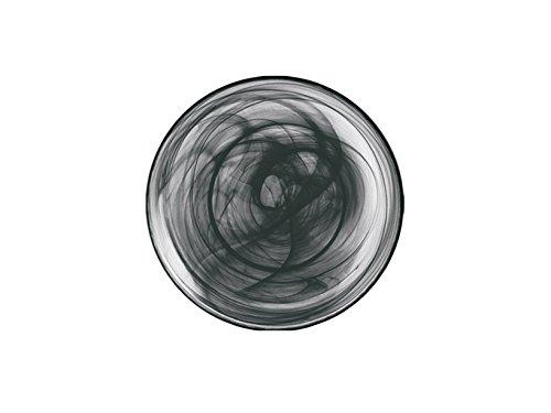 H&h alabastro set 6 piatti fondi, vetro, nero, 21 cm, 21x21x4 cm, 6 unità