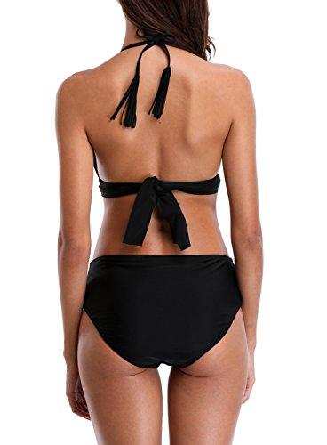 Charmo Damen Bikini Set Kontrast Neckholder Bikini Schalen Mit Quaste Träger Push Up Bandeau Mittlerer Bund Swimsuit Schwarz