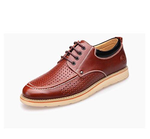 HYLM Summer Les nouvelles chaussures en cuir Men Sandals Chaussures décontractées en cuir véritable Chaussures respirantes à trous creux Brown