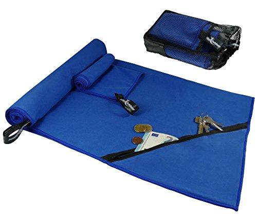 Mikrofaser Handtücher 2er Set von BeMaxx Outdoor + Transportbeutel - 2 Mikrofasertücher groß & klein: Badetuch + Handtuch - Microfaser Reisehandtuch | Sporthandtuch für Reise, Trekking, Camping, Sport