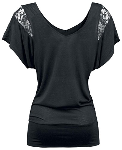 Fashion Victim Laced Shoulder Girl-Shirt schwarz Schwarz