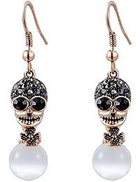 Roxi fille plaqué or rose 18 carats boucles d oreilles tête de mort avec  Opal 4ede7e4928d4