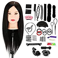 Neverland Beauty 22 Inch 100% Real Human Hair Training Head Practice Mannequin Hairdressing Dolls Head with Clamp Holder & DIY Hair Braid Tools #2
