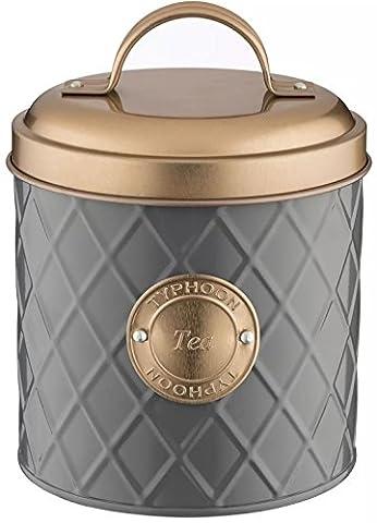 Typhoon Living Lid Tea Storage Tin, Grey/Copper