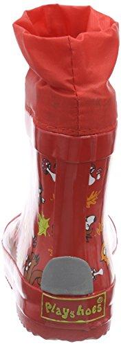 Playshoes Unisex-Kinder Kurzschaft Niedriger Gummistiefel Waldtiere aus Naturkautschuk gefüttert Rot (rot 8)